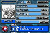 Monster Force Game Boy Advance Pause screen shows Character stats