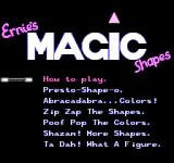 Sesame Street 1 2 3/A B C NES Ernie's Magic Shapes Menu