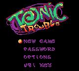 Tonic Trouble Game Boy Color Title screen and main menu