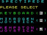 Spectipede ZX Spectrum The game loads to this screen