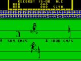 Game Set and Match 2 ZX Spectrum Hurdles : Again the player hammers the Z & X keys for speed and hits the SPACE key to make the jump. Aly hurdle hit slows the player down. The computer seems to make all its jumps.