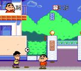 Crayon Shin-chan: Arashi o Yobu Enji Genesis This kid throws soccer balls at you