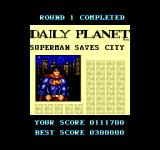Superman: The Man of Steel SEGA Master System Round 1 completed, score set to zero, energy not renewed