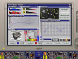 F1 Manager Professional DOS The telemetry screen. Giving useful data on the cars, and it can be saved for further analysis
