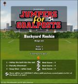 Jumpers for Goalposts Browser Main menu - starting out as a backyard rookie