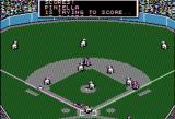 MicroLeague Baseball Apple II Forcing a play sliding head first at home plate and scores!