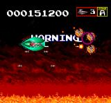 Sagaia TurboGrafx CD Got even more power ups. Blasting everything in sight. Getting a warning