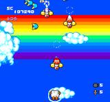 Star Parodier TurboGrafx CD A battle with rainbow backdrop