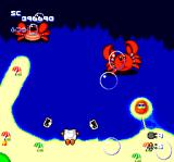 Star Parodier TurboGrafx CD Mid-boss battle on a sunny beach against two crabs