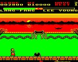 Yie Ar Kung-Fu 2: The Emperor Yie-Gah Electron Lang Fang throws triangles. Very hard to beat.