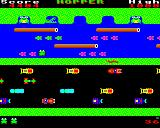 Hopper BBC Micro Level 2, complete with red snake, diving turtles (the green ones) and the waiting crocodile.