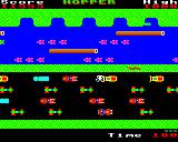Hopper BBC Micro Level 3: Heavier traffic and less logs to jump on. You can see the crocodile waiting for you. He's not dangerous while his jaws are closed.
