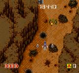 Avenger TurboGrafx CD Through a narrow canyon; tanks are below