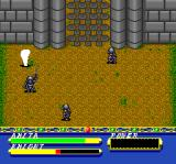 Basted TurboGrafx CD Battle against some knights near a castle gate