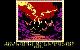 The Crack of Doom DOS Walking down a path away from Cirith Ungol - Wonder what those strange winged things are? (EGA)