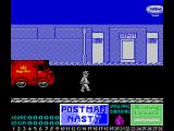 Mailstrom ZX Spectrum Got the bomb - now to use it. Postman Nasty cannot walk off the edge of the screen so he must drive his car