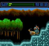 Exile: Wicked Phenomenon TurboGrafx CD Kindi fights a monster in a mountains area