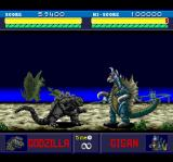 Godzilla TurboGrafx CD Taking on the fat, dumb Gigan :) Note the monster on the background