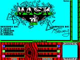 MASK Two Two ZX Spectrum With all three agents selected you move the cursor to the red 'LOAD' box in the previous screen, start the tape again, and wait