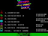 VENOM Strikes Back ZX Spectrum Menu screen with flashy rainbow colour changing title