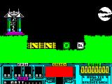 VENOM Strikes Back ZX Spectrum The start of the game. Matt's just teleported in. The green and the white crates are his first two masks