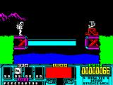 VENOM Strikes Back ZX Spectrum Screen 3 and a bridge that goes back and forth across a river.