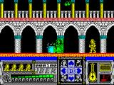 Casanova ZX Spectrum The game starts here.  Casanova is in yellow. The green bar represents musical notes, aka bullets, he has available. The yellow heads are available lives. The blue cross responds to action keys