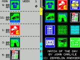 Match of the Day ZX Spectrum The yellow arrow in the margin of the diary goes to the scheduled task.....