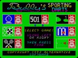 Bully's Sporting Darts ZX Spectrum The main menu screen. The games on offer are arranged around a central blackboard.