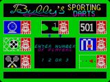 Bully's Sporting Darts ZX Spectrum Up to three playes can play most games. THis is the screen that selects the number of players for 'Golf'