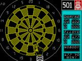 Bully's Sporting Darts ZX Spectrum Playing 501. the third player has not been registered so it's just Dwayne & Flloyd. I like the way the icon over the scoreboard changes to reming you what game you're playing.