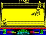 American Tag-Team Wrestling ZX Spectrum My turn to throw the other guy, sdhame he got up before I could remember what key made me jump on him