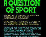 A Question of Sport BBC Micro Initial loading screen and copyright message