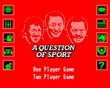 A Question of Sport BBC Micro Main title page where can choose a 1 or 2 player game
