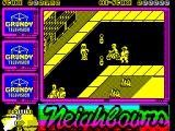 Neighbours ZX Spectrum There are 'gates' to go through, that's represented by the two skittles in the road