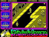 Neighbours ZX Spectrum There are bonus points to pick up for hitting targets / ramps. Pedestrians try to get in the way and should be avoided