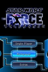 Star Wars: The Force Unleashed Nintendo DS Title screen with main menu.