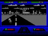 OutRun Europa ZX Spectrum The Hurry Up sign in the sky indicates that there's some kind of time limit