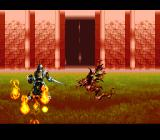 Bahamut Lagoon SNES Our dragon attacks. The poor enemy soldier is on fire...