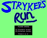 Strykers Run BBC Micro Initial loading screen and game type selection.