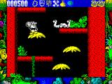 Tarzan Goes Ape! ZX Spectrum I can clear the snakes off the nest platform by throwing coconuts. It's possible to fall of the right and the left of these platforms.