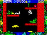 Tarzan Goes Ape! ZX Spectrum Cleared the snakes that re-appeared on this platform, now to clear the next. Tarzan is very responsive to the joystick and trying to turn him around often means he falls off
