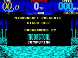 Cisco Heat: All American Police Car Race ZX Spectrum Credits 2. This display builds slowly, over a minute or so. Its followed by more credits for the development team, then the 1st stage needs loading
