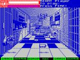 Exterminator ZX Spectrum Here I am in the kitchen. I'm over to the left & I'm the left player which means I can shoot, and that's what I'm doing