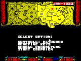 Genghis Khan ZX Spectrum Game options. The white cursor is moved to the desired line which is selected by pressing 'ENTER'. I chose to redefine the action keys, which are ;up, down, left, right, fire & arrows