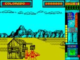 Hydra ZX Spectrum Start of the game. The virus is in the crate. When its loaded an icon appears in the space between the two screen headings showing Colorado, start point, and the cash earned