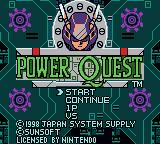 Power Quest Game Boy Color Title screen and main menu