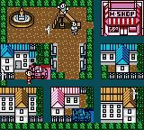 Power Quest Game Boy Color Town overview; you can go to the model shop, your house and to the playground to meet opponents, for example.