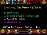 Lone Wolf: The Mirror of Death ZX Spectrum Game menu