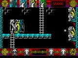 Lone Wolf: The Mirror of Death ZX Spectrum Here I need to make it to the ladder. There's two gargoyles firing at me. Their range is limited so it is possible to edge up close and time my run